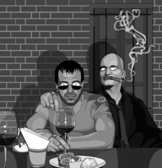 Two men sitting in a bar at the table
