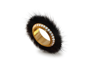 golden ring with diamonds and mink