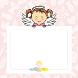 Fototapety  Baby girl with wings. blank space for photo or text