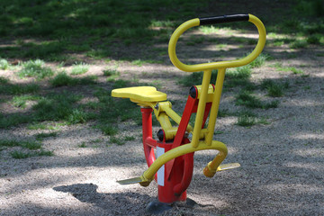 Sport equipment in city park in sunny day