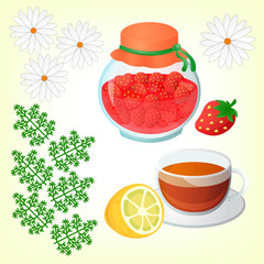 Strawberry jam, Tea with lemon and Chamomile