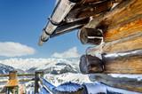 Fototapety Silvretta Montafon Impression Holzhütte mit Aussicht
