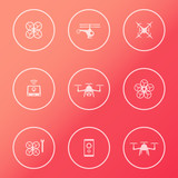 Drones, Tricopter, Multicopter, Quadrocopter round white icons poster