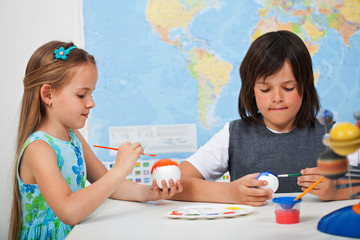 Kids painting the planets - for a solar system scale model