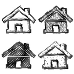 Hand drawn home symbol. Sketch of house in doodle style