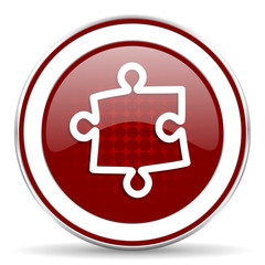 puzzle red glossy web icon