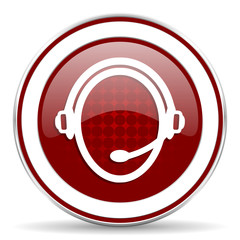customer service red glossy web icon