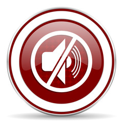 mute red glossy web icon