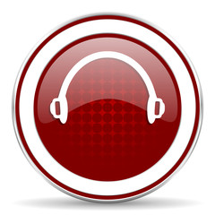 headphones red glossy web icon
