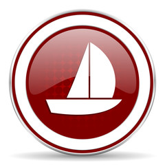 yacht red glossy web icon