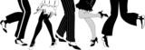 Fototapety Line of legs dancing the Charleston silhouette