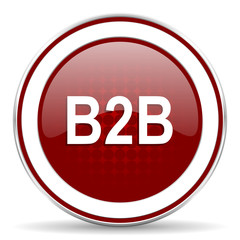 b2b red glossy web icon