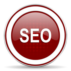 seo red glossy web icon