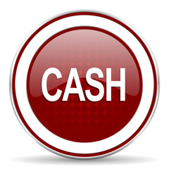 cash red glossy web icon