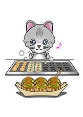 たこ焼きを焼く猫