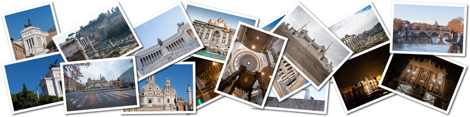 Postcard collage from Rome, Italy.
