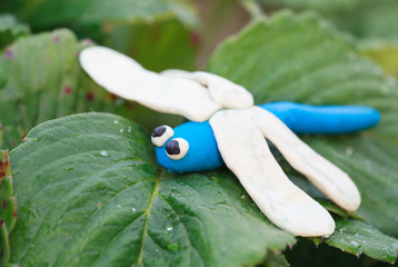 Plasticine world - little homemade blue dragonfly