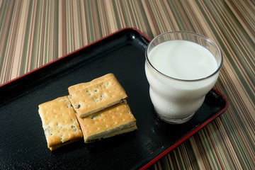 Cracker with A Glass of Milk on Plate