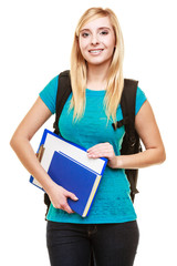 smiling teen girl female student with books