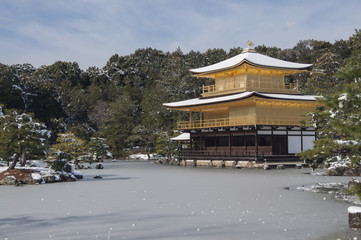 Zen temple during winter and snow time in japan concept