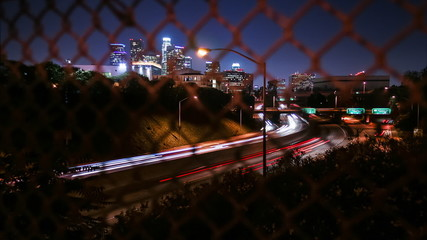 View from fence, Downtown Los Angeles 101 Freeway Time-lapse.
