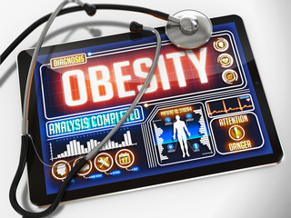 Obesity on the Display of Medical Tablet.