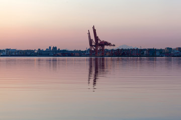 Sunrise at Port of Vancouver BC