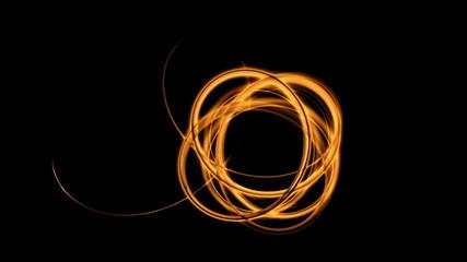 Knot, dynamic vortex, orange stream on black