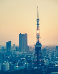 Tokyo city view and Tokyo Tower with sun in vintage style