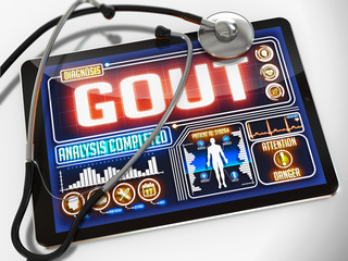 Gout on the Display of Medical Tablet.