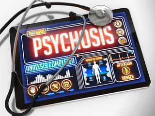 Psychosis on the Display of Medical Tablet.