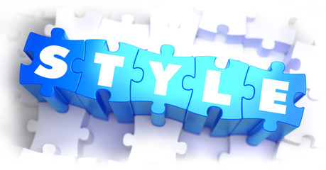 Style - White Word on Blue Puzzles.
