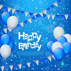 Happy Birthday with balloons and flags in blue background