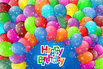 Happy Birthday greeting card with colorful balloons