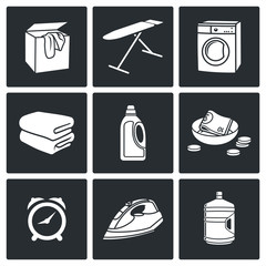 Services Dry Cleaning Vector Icons Set