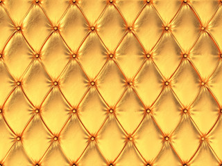 Seamless golden leather upholstery pattern, 3d illustration