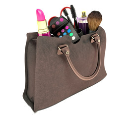 Beautiful brown makeup bag and cosmetics isolated on white
