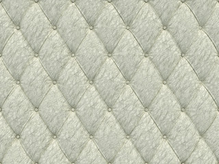 Seamless white leather upholstery pattern, 3d illustration