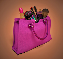 Beautiful pink makeup bag and cosmetics isolated on white