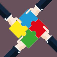 Flat Design - 4 Hände Puzzle Teamwork
