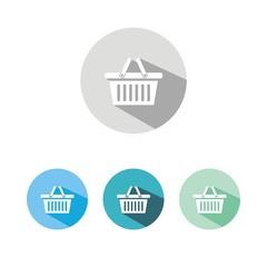 Iconos cesta de la compra colores sombra