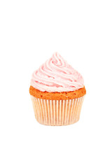 Birthday cupcake with butter cream and candle