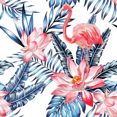 pink flamingo and blue palm leaves pattern