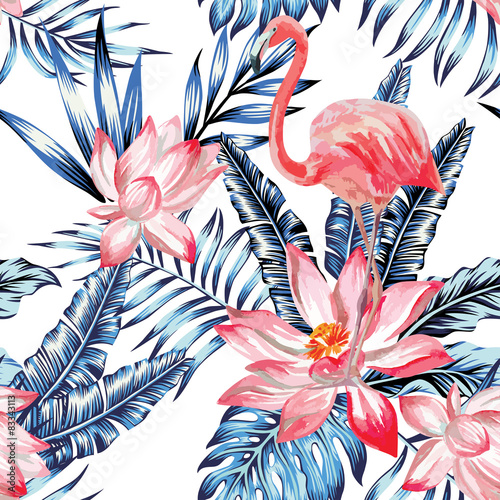 Materiał do szycia pink flamingo and blue palm leaves pattern