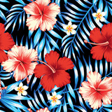 hibiscus and palm leaves seamless background