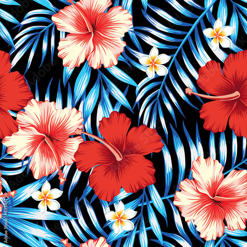 Materiał do szycia hibiscus and palm leaves seamless background