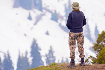 Hike and adventure at mountain with well dressed tourist