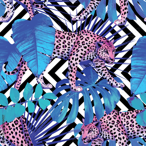 Materiał do szycia leopard and tropical plants, geometric background