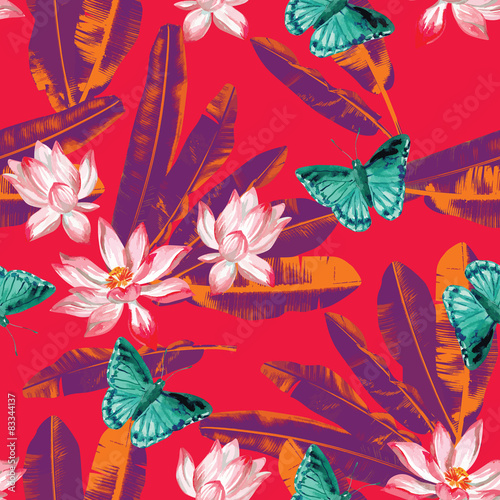 Materiał do szycia lotus, butterflies and banana leaves seamless background