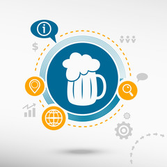 Beer mug icon and creative design elements